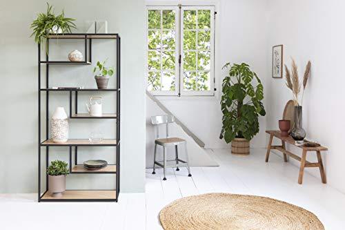 LIFA LIVING Vintage Wandschrank aus Holz und schwarzem Metall, Wandregal Industrial für Bücher Deko, Vitrinenschrank Wand Organizer, 82 x 34 x 175 cm