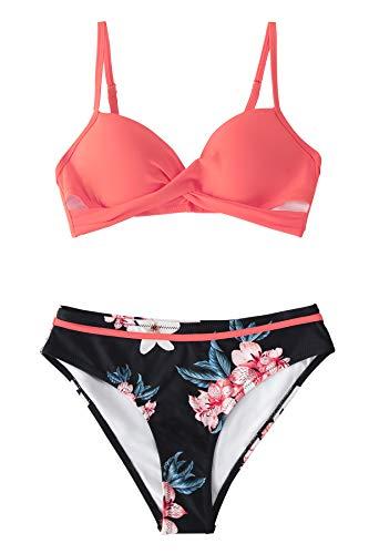 CUPSHE Conjunto de Bikini para Mujer Estampado Floral Retorcido Delantero Traje de Baño de Dos Piezas, L