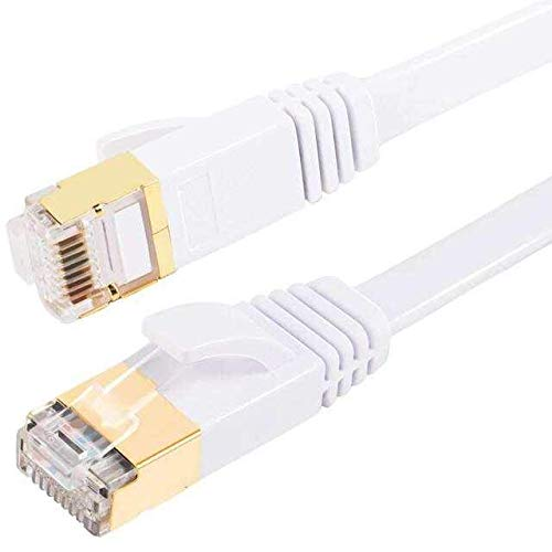 Cat-7-Ethernet-Kabel, Gigabit-Lan-Netzwerk RJ45, High-Speed-Patchkabel, flach, 10 Gbit/s, 600 MHz, STP, kompatibel mit Raspberry Pi, PC, Spielkonsole, Xbox, PS3, PS4, Switch, Modem, Smart TV (5M/16ft)