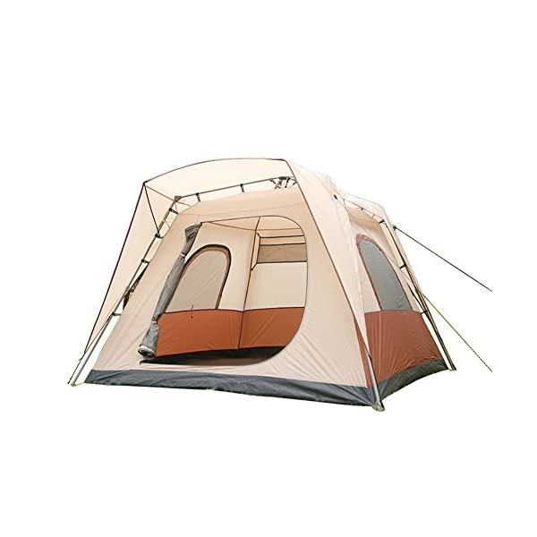 MQHY-Tent-Free-to-Build-Automatic-1-Second-Fast-Pop-Up-Tent-5-8-People-Big-Tents-Waterproof-Windproof-Breathable-Skylight-Tents-Family-Outdoor-Travel-Camping-Tents-Beige-260CM-260CM-185CM