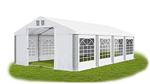 Das Company Partyzelt 4x8m wasserdicht weiß-grau mit Bodenrahmen und Dachverstärkung 560g/m² PVC Plane Robust Festzelt Gartenzelt Summer Plus SD
