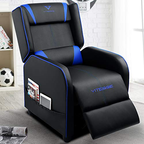 VIT Gaming Recliner Chair Racing Style Single PU Leather Sofa Modern Living Room Recliners Ergonomic Comfortable Home Theater Seating (Blue) big chair gaming tall