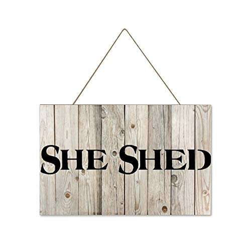 DONL9BAUER She Shed Potting Shed Plant Hanging Wood Sign Plaque Wall Decor Sign Gardener Rustic Wall Art for Living Room Indoor Outdoor