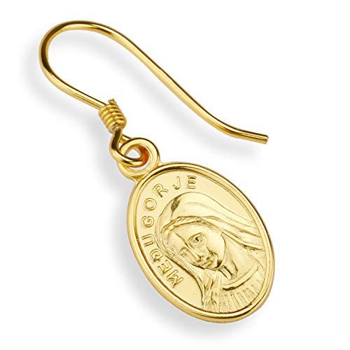 「silverKYASYA」ゴールド ピアス コイン 聖母マリア ピアス 金 メダイ ドロップピアス ゴールドコイン ピアス 片耳