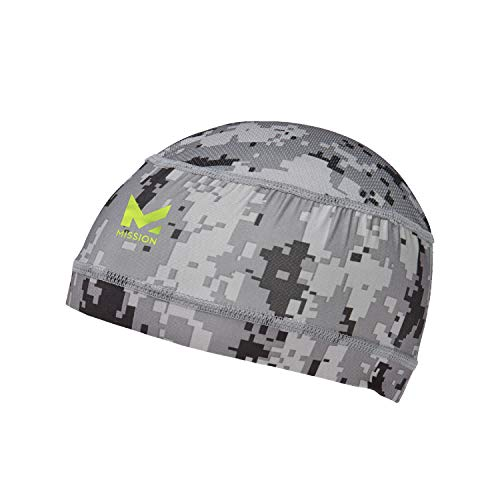 Mission Cooling Skull Cap- Hat, Helmet Liner, Running Beanie, Evaporative Cool Technology, Cools Instantly when Wet, UPF 50 Protection, for Under Helmets, Hardhat, Running, Football- Digital Camo Gray