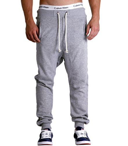 Young & Rich Jumpstar Jogginghose Sweatpants Trainingshose Haremsstyle Hose div. Farben (S-XXL) (M, Grey Melange)