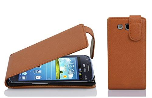 Cadorabo Coque pour Samsung Galaxy Core en Noisette Marron - Housse Protection en Style Flip en Similicuir Structuré - Etui Poche Folio Case Cover