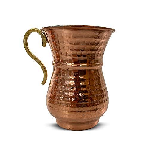 12 teiliges Kupfertassenset für Ayran, handgehämmerter Kupferbecher, handgefertigte Tasse aus reinem Kupfer, ideal für Sommergetränke und Dekoration, Kupferbecher-Set für türkischen Trinkjoghurt Ayran