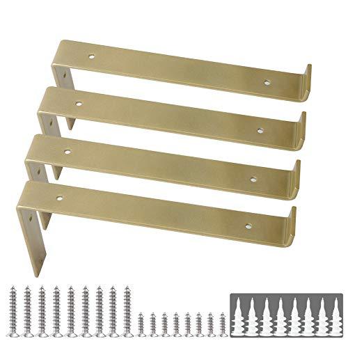 """Shelf Brackets 12 Inch Z Brackets 4PCS Gold Wall Bracket with Lip for Shelves Rustic Iron Metal Shelf Bracket for DIY Open Shelving Fit 11-1/4"""" Width Board Hardware Included"""