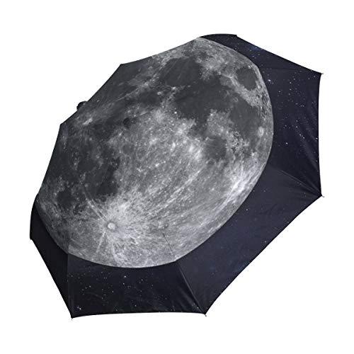 XiangHeFu Paraguas Planet Moon con Sistema Solar, Cierre automático, 3 Pliegues, Ligero, antiUV