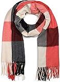 styleBREAKER Bufanda de cuadros escoceses suaves unisex con largos flecos, a cuadros, de invierno, robada 01017110, color:Rojo-negro-blanco