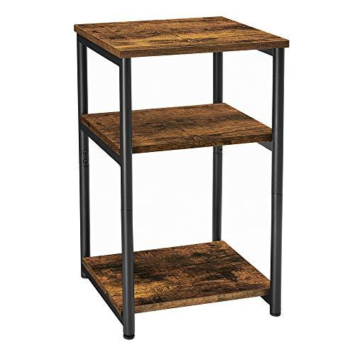 VASAGLE Beistelltisch, Nachttisch, mit 3 Ebenen, für Schlafzimmer, Stahlrahmen, für Wohnzimmer, Schlafzimmer, Industrie-Design, vintagebraun-schwarz LET273B01