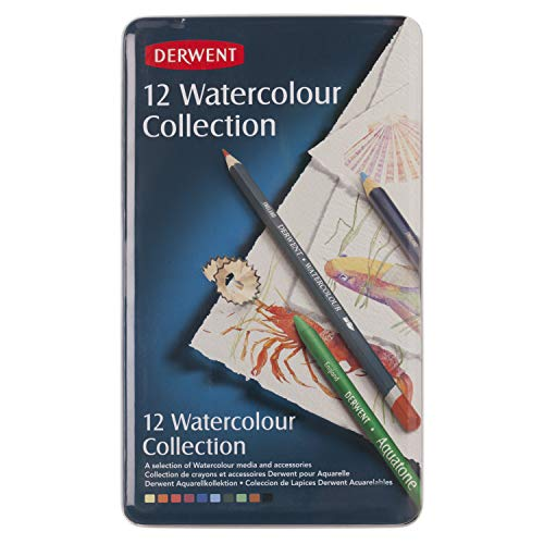 Derwent Colored Pencils, Watercolor, Water Color Pencils, Drawing, Art, Metal Tin, 12 Count (0700303),Blue