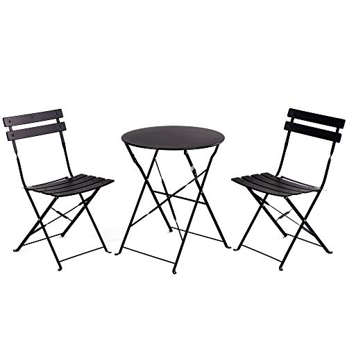 Grand patio Premium Steel Patio Bistro Set, Folding Outdoor Patio Furniture Sets, 3 Piece Patio Set of Foldable Patio Table and Chairs, Black