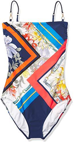 Gottex Women's Bandeau One Piece Swimsuit, Fleur Royal Navy, 10