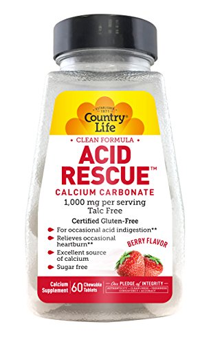 Country Life Acid Rescue Chewable Tablets 90g Digestive Aid amp Enzymes for Heartburn Relief Acid Reducer with Magnesium amp Calcium Berry Flavor 60 Count