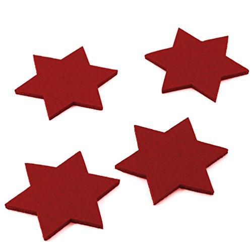 Oblique-Unique® Filzuntersetzer Sterne 4er Pack für Tisch und Deko - Weihnachten (Weinrot)