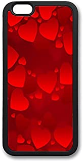 WangXiuhua IP6 Plus Case Valentine'S Day Red Hearts Black Soft TPU Cover For iPhone 6 Plus (5.5 inch) Colorful Pattern Cas...