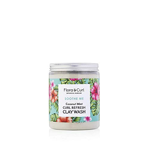 Flora & Curl Refresh Clay Wash Coconut Mint for Kinky and Curly Natural Hair 260g