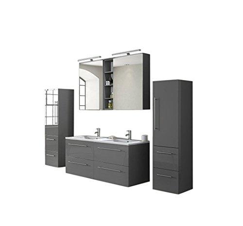 SAM® Badmöbel-Set 4-tlg, hochglanz grau, Softclose Badezimmermöbel, Doppelwaschplatz 120 cm Mineralgussbecken, Spiegelschrank, zwei Hochschränke [521048]