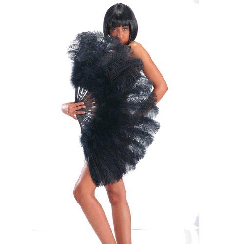Ventaglio gigante nero extra lusso in piume di struzzo per burlesque