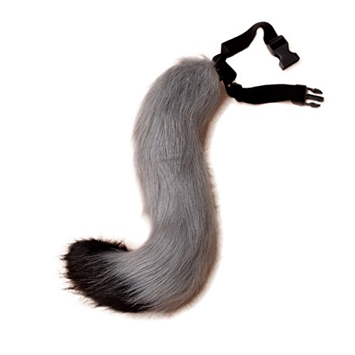 JUNBOON Faux Fur Fox Tail for Unisex Adult Children Cosplay Costume Halloween Party (Black Gray)