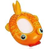 com-four® Figura de natación con diseño de pez Dorado - Bote de Goma Inflable para niños - colchón de Aire para divertirse en el baño - Figura de baño para la Playa (pez de Colores Naranja)