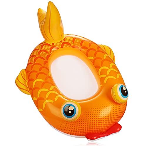 com-four® Schwimmfigur im Goldfisch Design - Gummiboot aufblasbar für Kinder - Luftmatratze für Badespass - Badefigur für Strand und Pool (oranger Goldfisch)
