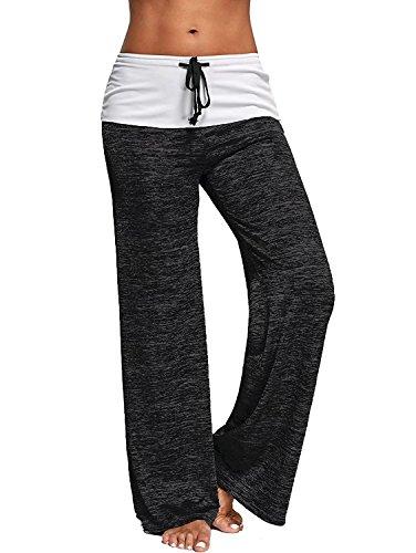 chimikeey Women Foldover Heather Wide Leg Pants Loose Yoga Legging