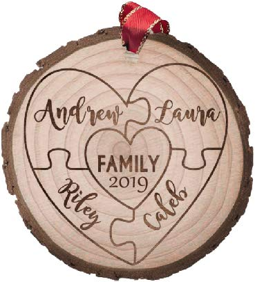 Cozzies Custom Engraved Wood Slice Family of 4 Ornament, Rustic Personalized Christmas Ornament,