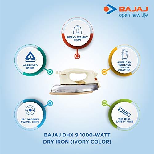 Bajaj DHX 9 1000-Watt Dry Iron (Ivory Color)