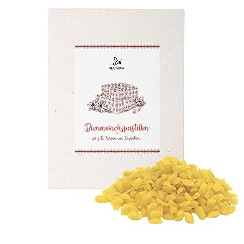 NECTARIA Pastillas de cera de abeja (200 g), 100% puro y natural, calidad prémium para cosméticos naturales, paños de cera de abejas, velas, etc.