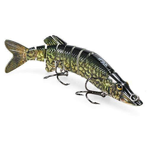Lixada Fishing Lure,5' Lifelike Multi Jointed 9-segement Pike Muskie Hard Minnow Bait Swimbait Crankbait Treble Hook