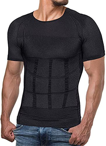 SAIJINZHI Secondskin Men's Shaper Cooling T-Shirt Men's Compression Shirt Undershirt Slimming Tank Top (Black,L)