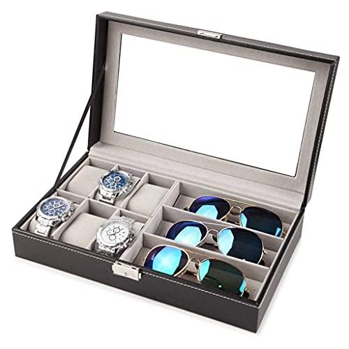 AMAFS Organizador de Caja de Reloj para Hombres con Tapa de Cristal y Almohadas para Mujer Estuche de joyería a la Moda Happy House