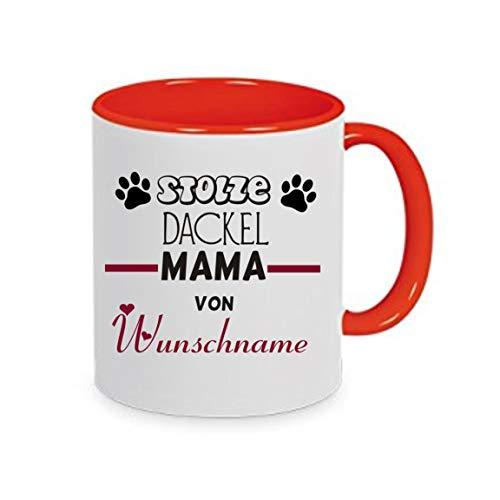 Crealuxe Stolze DACKEL Mama von (Wunschname) - Kaffeetasse mit Wunschname, Bedruckte Tasse mit Sprüchen oder Bildern, Bürotasse,