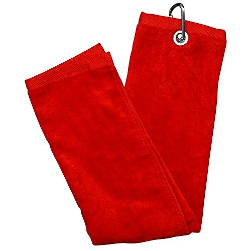 LONGRIDGE Blank Luxury 3 Falten Golf Tuch, Rot, One Size