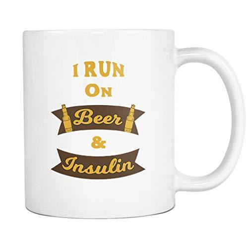 Rael Esthe Diabetiker Lasse ich auf Bier u. Insulin - 11 Unze-Kaffeetasse-Keramik - Diabetes-Bewusstsein Laufen