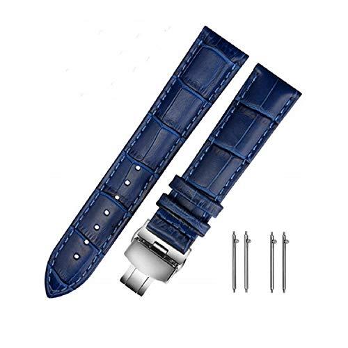 MUEN Cinturini di Ricambio Vera Pelle Cinturino Barre Rapido Rilascio Fibbia Pieghevole Blu 18mm 20mm 22mm 24mm per Uomo Donna