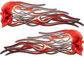 Weston Ink Reflective New School Street Rod Classic Car Style Evil Skull Flame Stickers/Decal Kit in Red