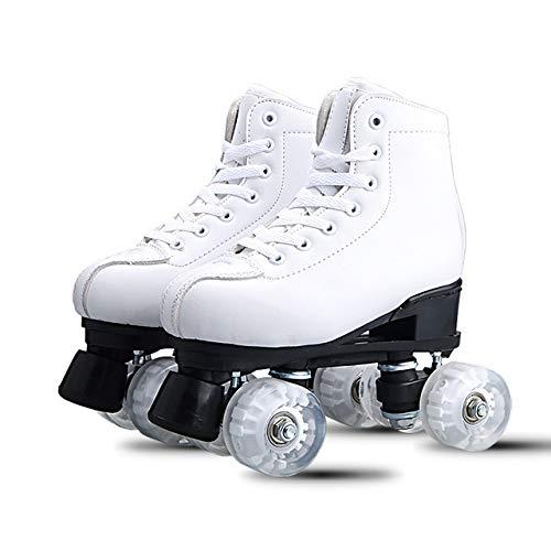 Qingting Doppelreihige Rollschuhe für Erwachsene, männlich und weiblich, zweireihig, Outdoor-Sportschuhe, Größe 6, Weiß