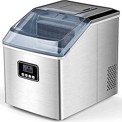 FREE VILLAGE Ice Maker Machine Countertop, Auto Self-Cleaning, 40Lbs/24H, 24pcs in 13 Mins,Portable Compact Ice Maker with Ice Scoop& Basket,Stainless Steel,Perfect for Home/Kitchen/Office/Bar, Sliver