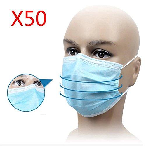50Stk Einwegmasken Mundschutzmaske Mundschutz Masken Einmal 9cmx17.5cm