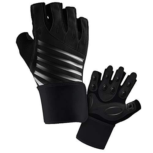 Hually Trainingshandschuhe, Fitness Handschuhe für Damen und Herren, Gewichtheben Handschuhe mit Handgelenkstütze und Palm Schutz für Bodybuilding, Fitness, Krafttraining, Radfahre,Sporthandschuhe