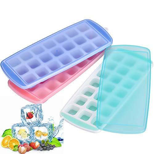 Queta Stampi per ghiaccio.Stampo per cubetti di ghiaccio in silicone con coperchio, 21 scomparti. 1 ciascuno per verde + blu + rosa.
