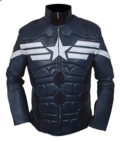 Flesh & Hide F&H Men's Captain America Winter Soldier Genuine Leather Jacket 2XL Blue