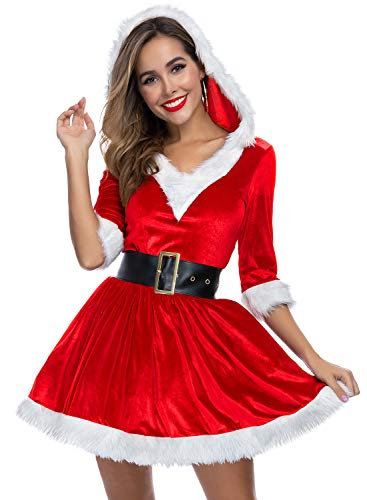 Women's Mrs. Claus Santa Costume Red V-Neck Adult Costume for Christmas Red M