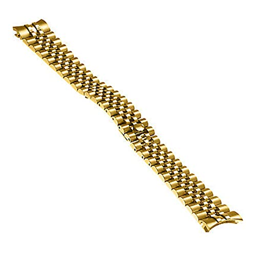 XINGFUQY 2 0MM Pulsera de Jubileo de Acero Inoxidable sólido Ajuste para Reloj Rolex Watch (Band Color : Gold, Band Width : 20mm)