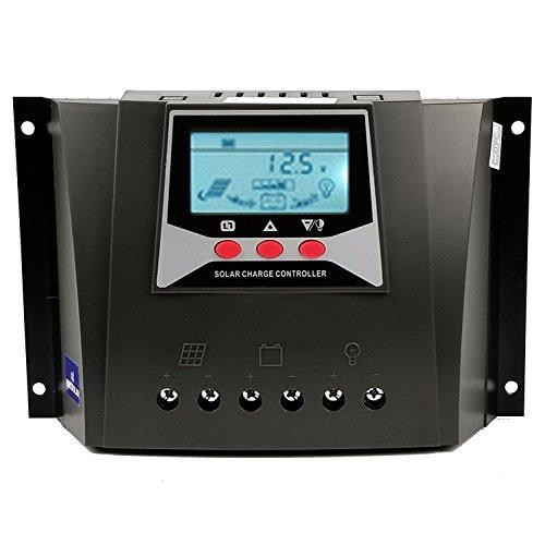 Y&H 50A Control de Carga Solar 48V/36V/24V/12V Panel Solar para Sellado, Gel, inundado, Batería de Litio Carga, regulador Inteligente con Pantalla LCD retroiluminada, Máx. 100VDC Entrada