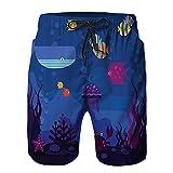 YZBEDSET Bañador De para Hombre Pantalones Playa Shorts, Mundo Submarino Peces en Acuario y cangrejos Ballena Medusa Burbujas Coral Secado Rápido Ligero Baño Cortos L
